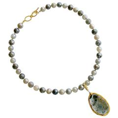 Mystic Moonstone Removable Agate Geode Druzy Egg Pendant Necklace
