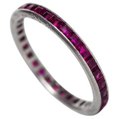 "1944 Art Deco Ruby Diamond Platinum Eternity Band Engraved ""June 12th 1944"""