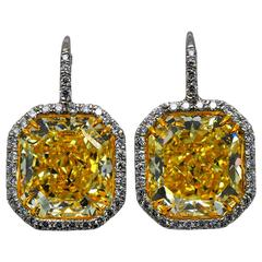 Important 24.33 Carats GIA Cert Fancy Yellow Radiant Cut Diamonds Earrings
