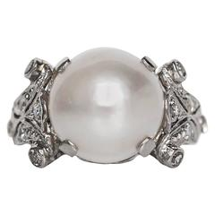 1930s Art Deco Mabe Pearl Diamond Gold Engagement Ring
