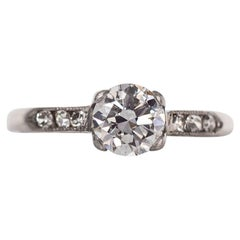 1940s Art Deco GIA Certified .66 Carat Diamond Platinum Engagement Ring