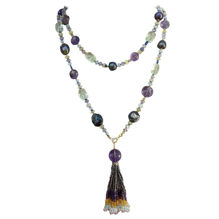 Baroque Black Pearl Semi-Precious Beads Gold Lariat Necklace