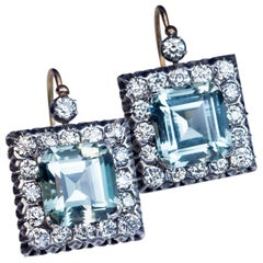 Large Aquamarine Diamond Russian Art Deco Earrings