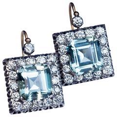 Large Aquamarine Diamond Russian Art Deco Earrings