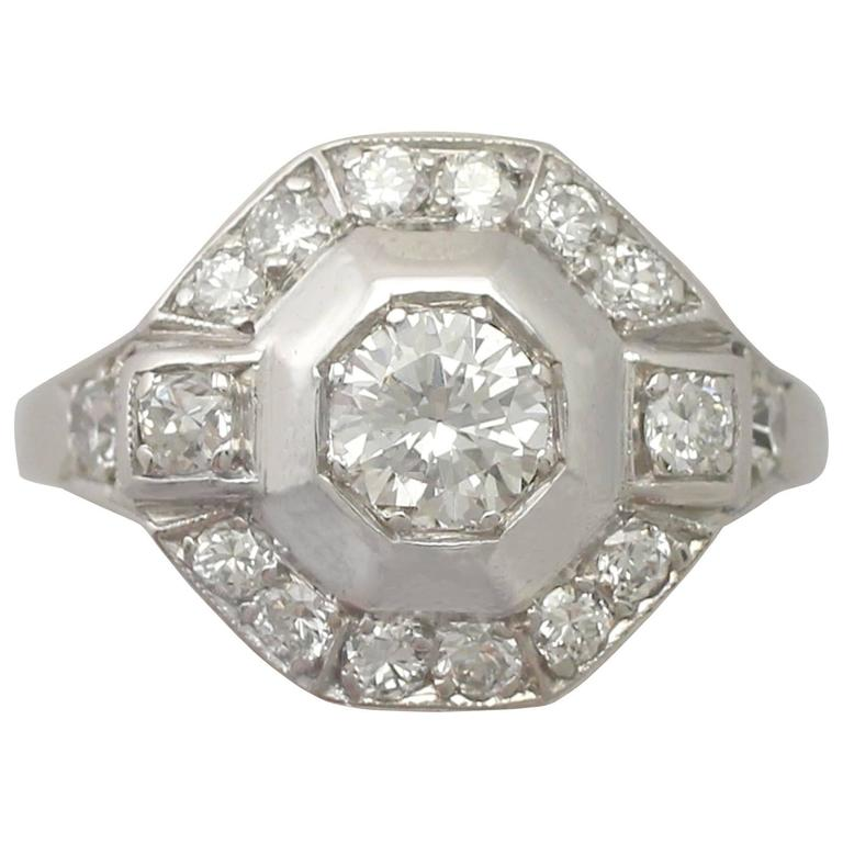 1940s Art Deco Diamond and Platinum Cocktail Ring