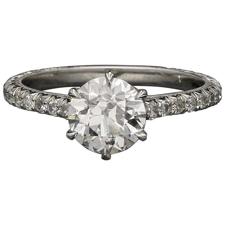 Beautiful Old European Brilliant Cut Diamond  Platinum Ring For Sale