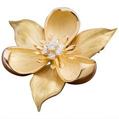 Tiffany & Co. Gold Dogwood Pin