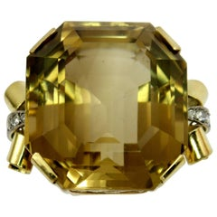 Mid-Century Citrine Diamond Gold Ring