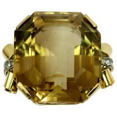Mid-Century Citrine Diamond Gold Ring