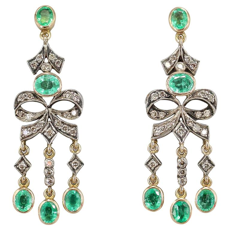 Emerald Diamond Gold Chandelier Earrings For Sale