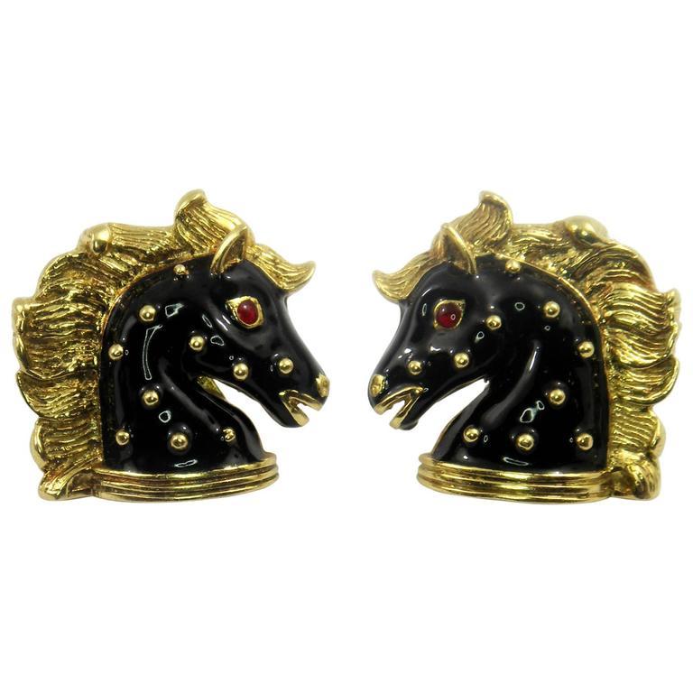 Hidalgo Enamel Gold Horse Earrings 1