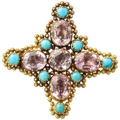 Georgian Pink Topaz and Turquoise Pin