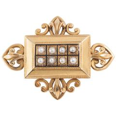 Victorian Pearl Gold Brooch