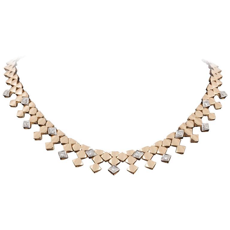 1940s French Gem Set Diamond Platinum Necklace