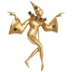 Sapphire Gold Harlequin Brooch