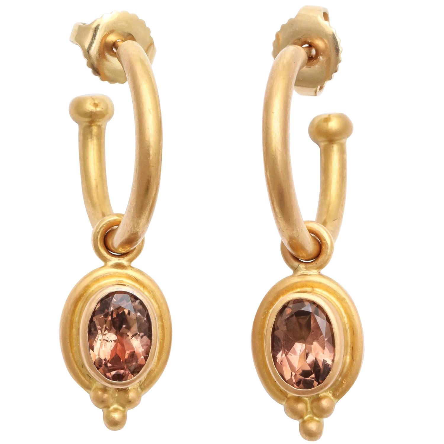 Reinstein Ross Gold Hoop Earrings with Removable Topaz Drops For