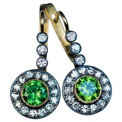 Russian Demantoid Diamond Drop Earrings