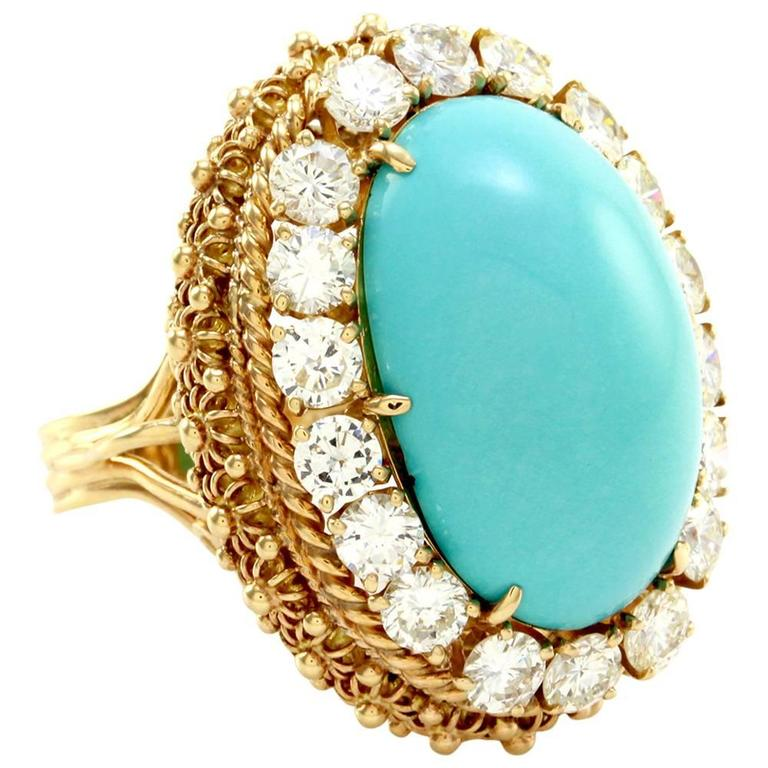 turquoise cabochon halo gold ring for sale