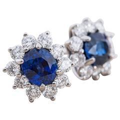 Tiffany & Co. Sapphire Diamond Platinum Earrings