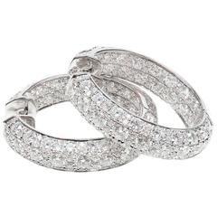 LTJ Diamond White Gold Hoop Earrings