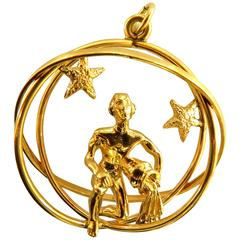 Large Aquarius 3D Nude Male with Three Spheres Gold Pendant Charm