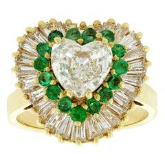 Heart Shape Diamond Emerald Halo Gold Ring