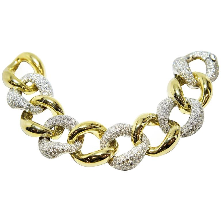 yellow and white gold pave link bracelet for sale at 1stdibs