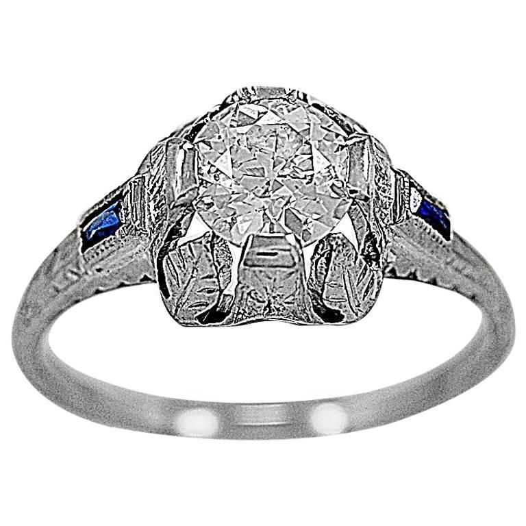 Art Deco .89 Carat Diamond Sapphire Gold Engagement Ring