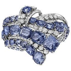 Important Diamond Sapphire Cascade Bracelet