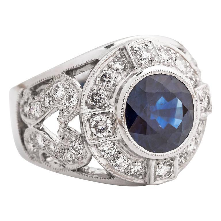 Sapphire Diamond Gold Handmade Custom Ring
