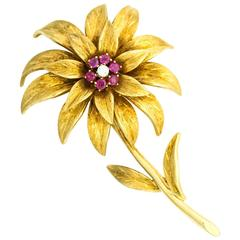 Tiffany & Co 1950s 18 Karat Gold Italian Flower Pin with Diamond and Ruby Accent