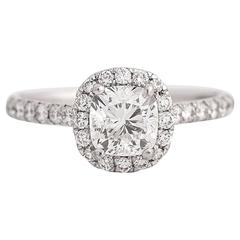 GIA 1.01 Carat Cushion Cut Diamond Engagement Ring