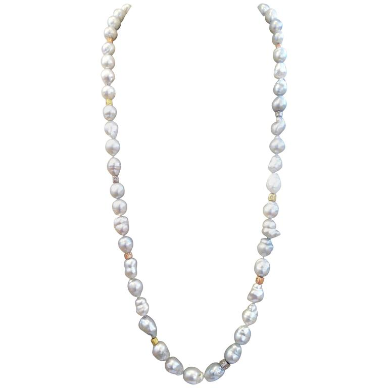 Silver-White Baroque Pearl Necklace with Diamond and Gold Beads 1