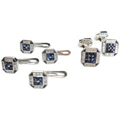 Sapphire and Diamond Set of Cufflinks and Studs