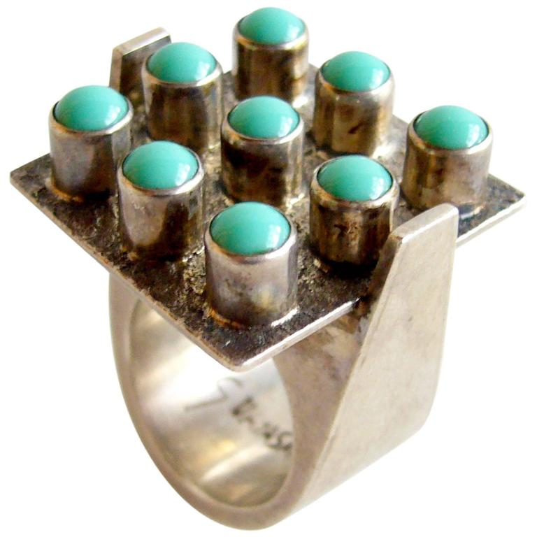 Oswaldo Guayasamin Turquoise Silver Ecuadorian Modernist Statement Ring For Sale