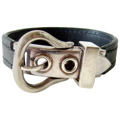 Hermes Sterling Silver Leather Saddle Buckle Bracelet