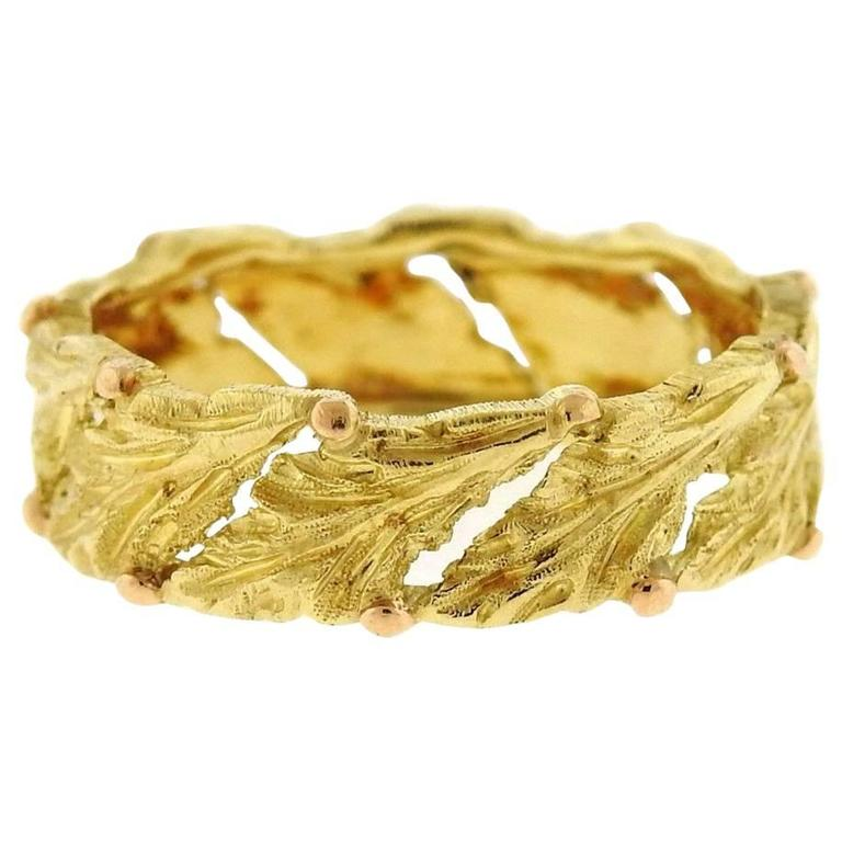 Buccellati Gold Leaf Motif Wedding Band Ring For Sale At