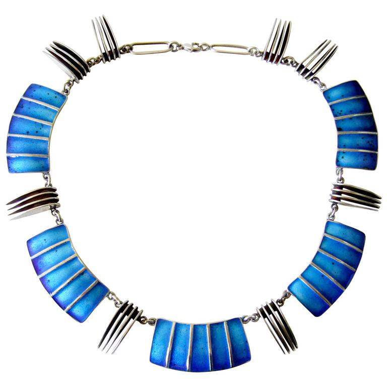 Mary Schimpff Enamel Sterling Silver Linked Statement Necklace For Sale