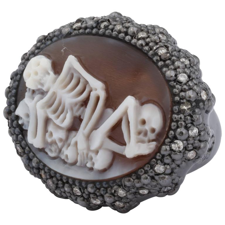 """Amedeo """"Skeledeo"""" Cameo Ring With White Diamonds"""