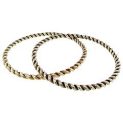 Classic Pair of Heavy Tiffany & Co. Rope Design Gold Slip on Bangle Bracelets