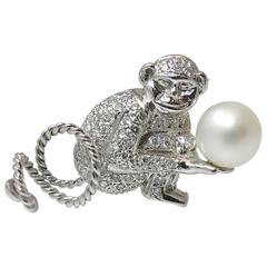 Adorable 18K White Gold Diamond and South Sea Pearl Monkey Pin