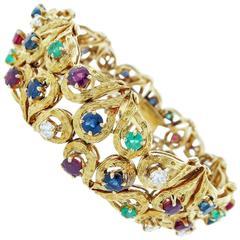 Cheerful Precious Stone Gold Bracelet