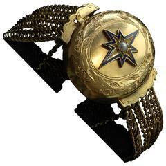 Victorian Star Enamel Locket Bracelet