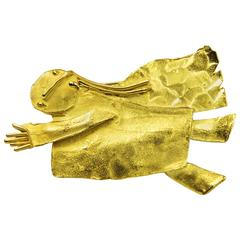Walter Schluep Guardian Angel Gold Brooch Pin