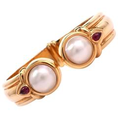 High Polished Mabe Pearl Gold Bracelet