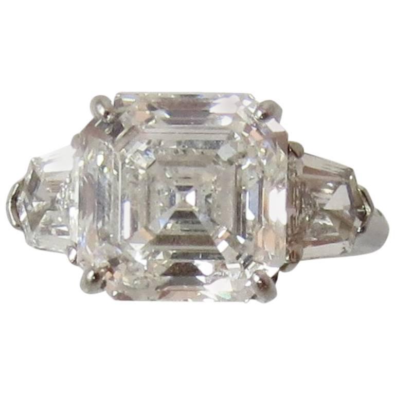 "5 01 Carat GIA Cert Square Emerald Cut Diamond ""Asscher"" 3 Stone Pl"