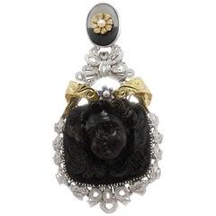 Onyx,Ebony Angel,Diamonds,Blue Sapphires,Little Pearls, Rose White Gold Pendant