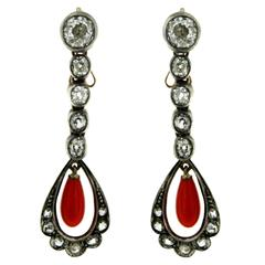 Diamond Coral Gold Drop Earrings