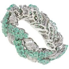 44.57 ct Colombian Emeralds, 4.26 ct Diamonds White Gold Retrò Bracelet