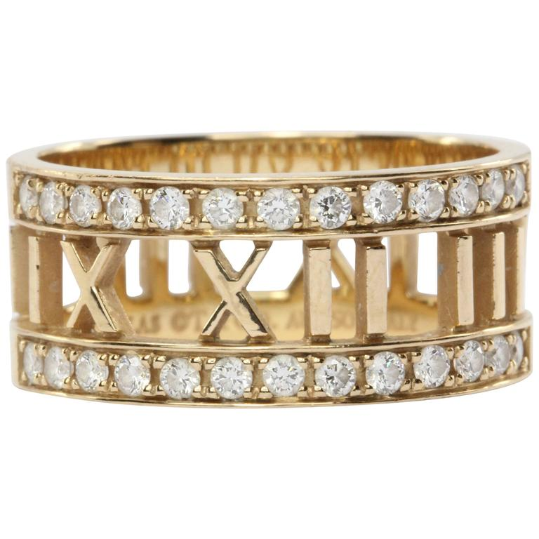 6b7eeee5f Tiffany and Co. Atlas Open Diamonds Gold Ring at 1stdibs